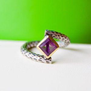 BORA Amethyst Silver Ring // Handmade // 7 // 7.25